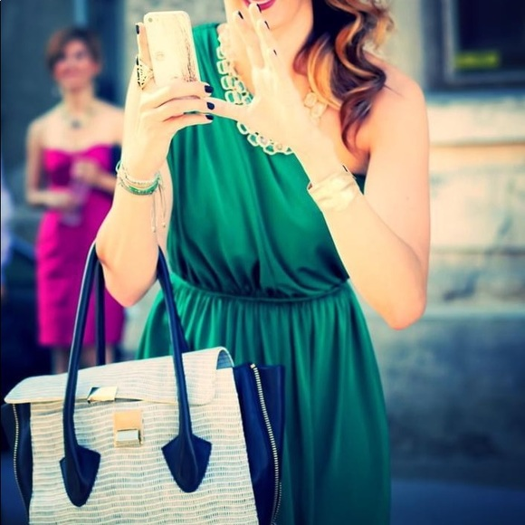 Poema Dresses & Skirts - One shoulder green maxi with front slit